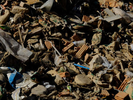 pile reuse engine: Constructed waste from the city, brick and concrete in dump site Stock Photo