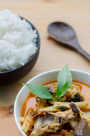 Red Curry with Chicken and Bamboo Shoots with Rice, Thai Food, Thailand Stock Photo
