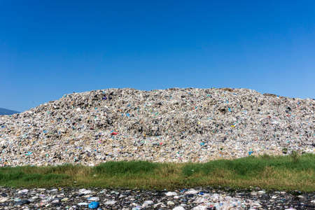 Waste from household in waste landfill. Waste disposal in dumping site in THAILAND