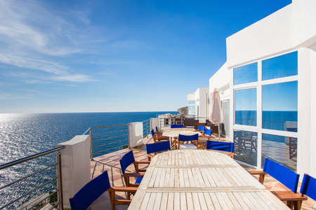 Luxury Sea view terrace with table and chair