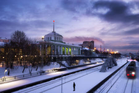 12.05.2019 Russia, Murmansk. View of the Murmansk train station in winter Editorial
