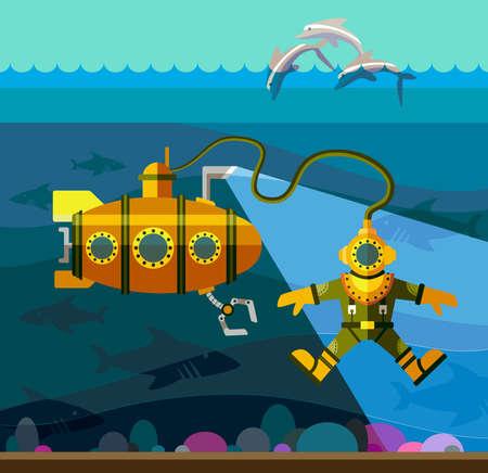 submarino: Ilustración de estilo plano con buzo y submarinos Vectores