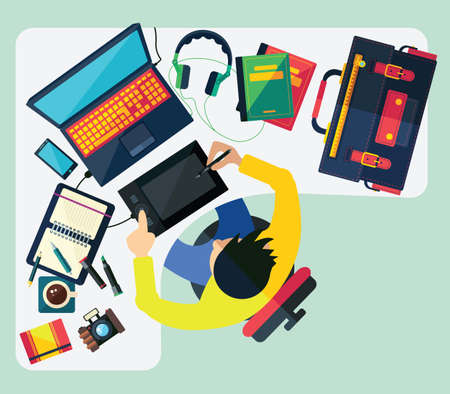 countertop: Different professions. This vector illustration made on bussiness theme in flat style.