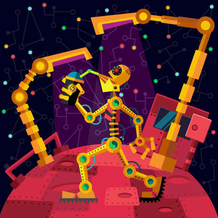 cartoon land: Robots planet. This vector illustration made on space theme in flat style.