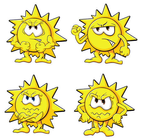 reasonable: Illustration with simple gradients with the image of cute cartoon sun