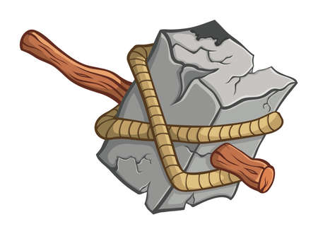 primitive tools: Prehistoric warhammer. Illustration with simple gradients. Illustration