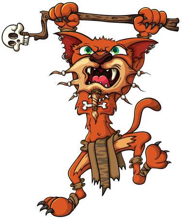 hadas caricatura: Tigre dientes de sable - Shaman, los ataques con un palo en sus patas. Ilustración vectorial con gradientes simples.
