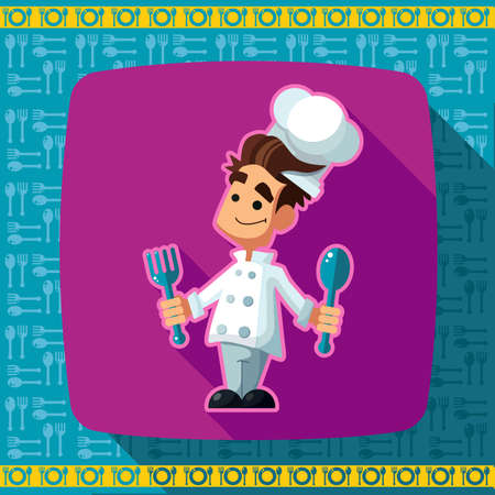 depicted: Set of icons on a theme kitchen. Funny chef -cook depicted in the style of flat.