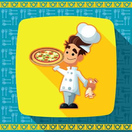 Set von Icons über ein Thema Küche. Lustiger Chef -COOK im Stil der flachen dargestellt. Standard-Bild - 43003525