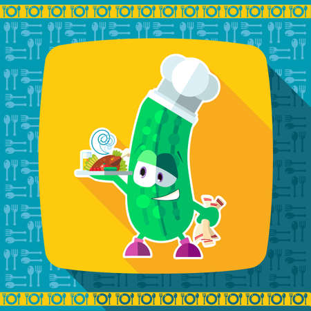 Set of icons on a theme kitchen. Funny chef - Cucumber depicted in the style of flat.
