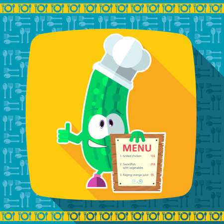 depicted: Set of icons on a theme kitchen. Funny chef - Cucumber depicted in the style of flat.