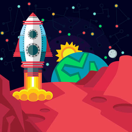 cartoon world: Illustration in style flat about outer space.