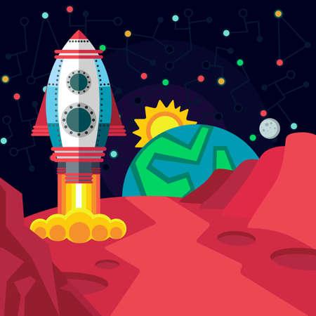 luna caricatura: Ilustraci�n de estilo plana sobre el espacio exterior.