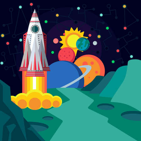 cartoon land: Illustration in style flat about outer space.
