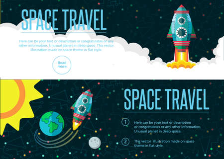 ship sky: Illustration in style flat about outer space.