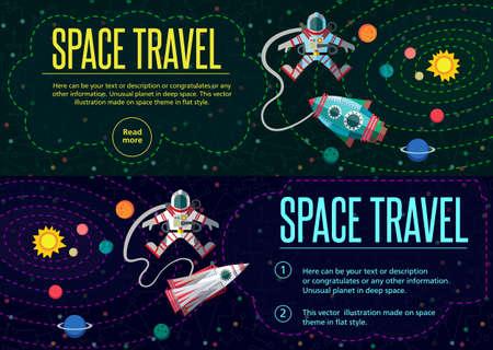 sonne mond und sterne: Illustration im Stil flach über den Weltraum.