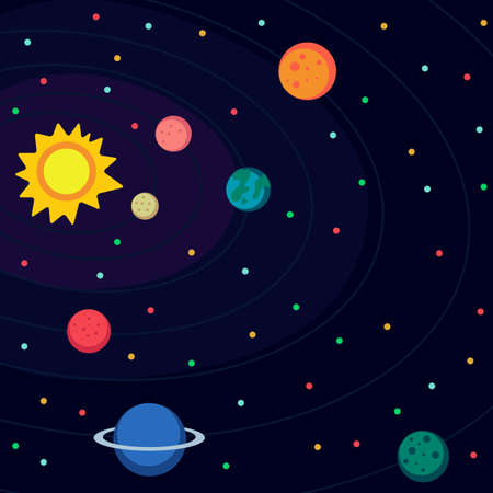 system: Illustration in style flat about outer space.
