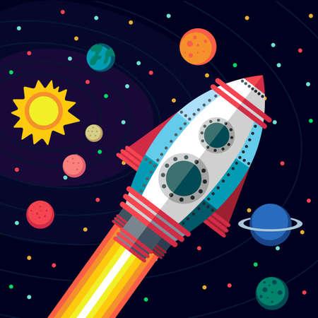 estrella caricatura: Ilustraci�n de estilo plana sobre el espacio exterior.