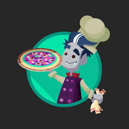 vampire cartoon: Round flat vector icon with vampire cook and Halloween kitchenware Illustration
