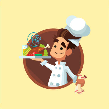 red button: Round flat vector icon with cook and kitchenware Illustration