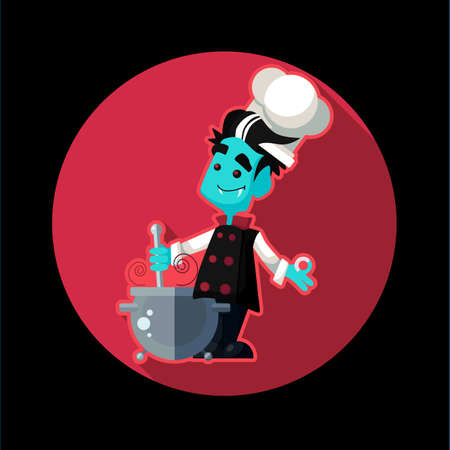 Round flat vector icon with vampire cook and kitchenware for halloween
