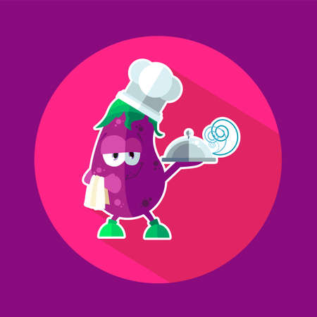 pulp: Round flat vector icon with chef eggplant and kitchenware Illustration