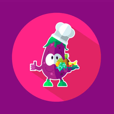 cheff: Round flat vector icon with chef eggplant and kitchenware Illustration