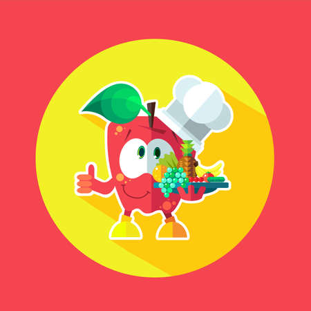 cheff: Round flat vector icon with chef apple and kitchenware Illustration