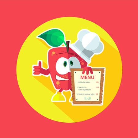 cocina caricatura: Icono redondo del vector plana con manzana cocinero y utensilios de cocina