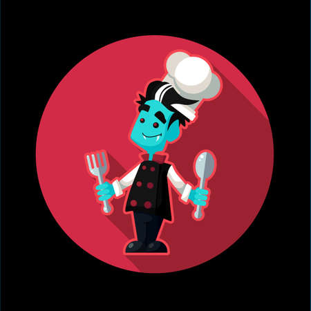 cheff: Round flat vector icon with vampire cook and kitchenware for halloween