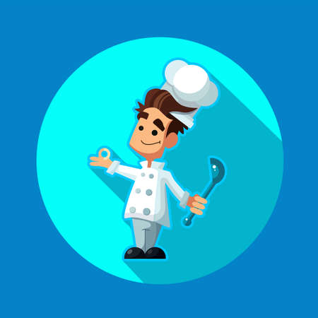 Round flat vector icon with chef apple and kitchenware Illustration