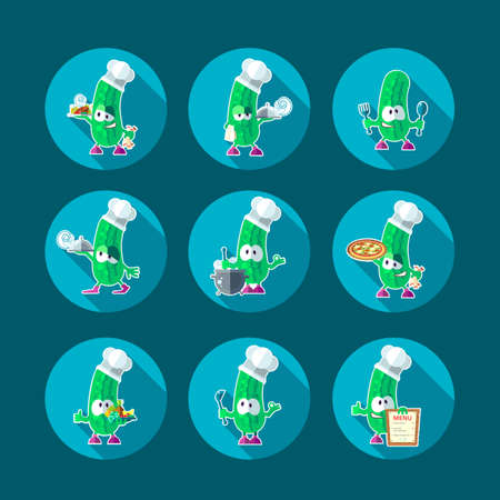Round flat vector icon set with chef cucumber and kitchenware