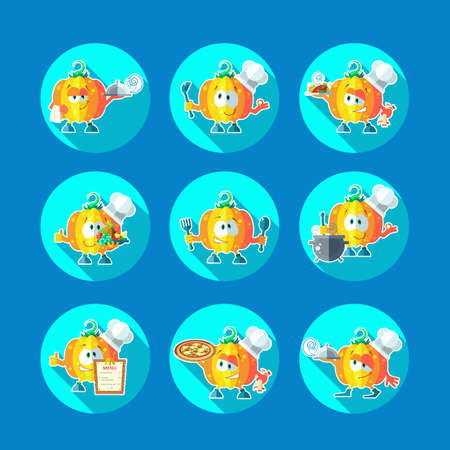 pepino caricatura: Round flat vector icon set with chef pumpkin and kitchenware Vectores