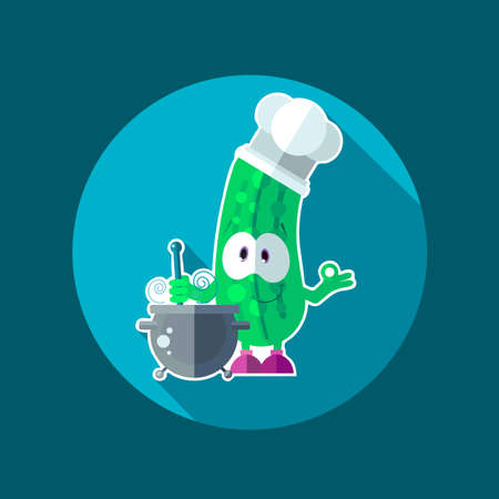 pepino caricatura: Round flat vector icon with chef cucumber and kitchenware
