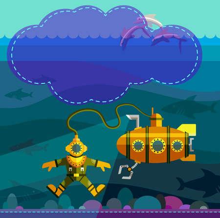 model fish: Illustration of style flat with sea landscape Illustration
