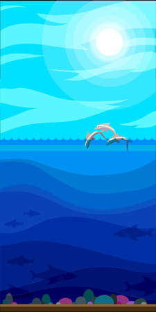 sea landscape: Illustration of style flat with sea landscape Illustration