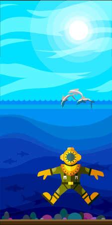 diver: Illustration of style flat with sea landscape Illustration