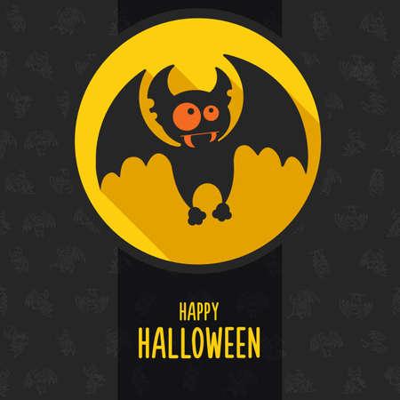 vampire bat: Illustration about vampire on the full moon for Halloween in style flat