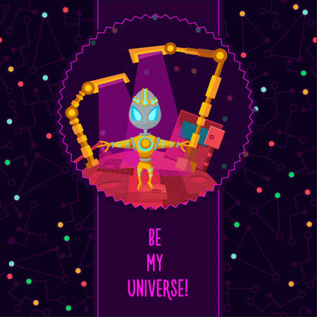 colonization: Space vector illustration in style flat about alien in the univerce. Romantic flayer.