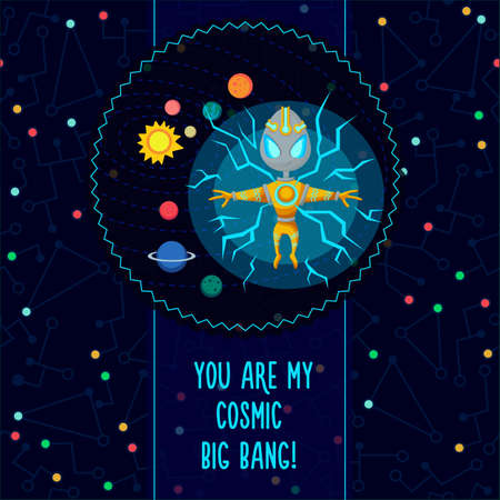 Space vector illustration in style flat about alien in the univerce. Romantic flayer.