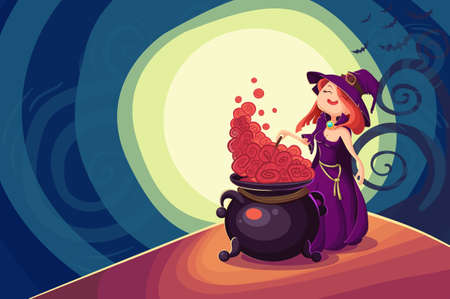 sorceress: Vector Halloween poster background card with cute young witch.