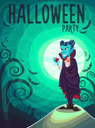Vector Halloween poster background card with vampire Dracula