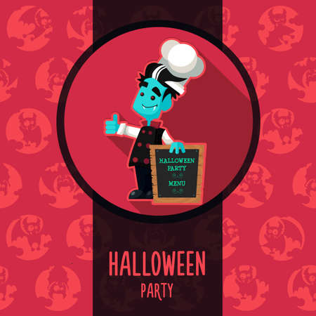 Illustration about vampire chef for Halloween menu, party or cards in style flat
