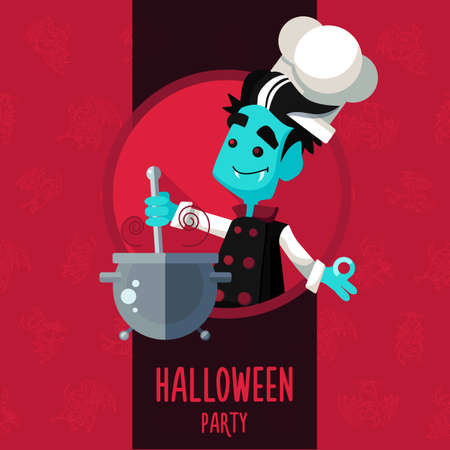 vampire: Illustration about vampire chef for Halloween menu, party or cards in style flat