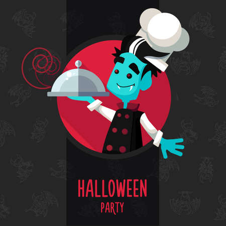 vampire bat: Illustration about vampire chef for Halloween menu, party or cards in style flat