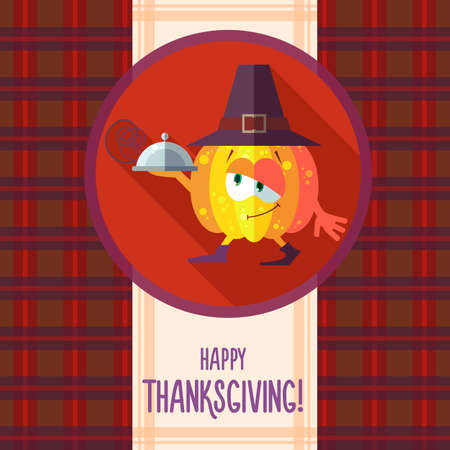 thanksgiving menu: Flat vector card with chef cartoon pumpkin and kitchenware for menu in a restaurant or an invitation to Thanksgiving Day