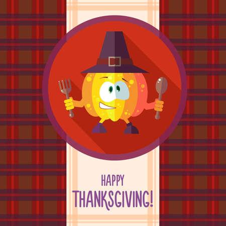 cocina caricatura: Tarjeta plana del vector con calabaza caricatura de cocina y utensilios de cocina para el men� en un restaurante o una invitaci�n para el d�a de Thanksgiving