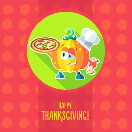 メニューのレストランや感謝祭への招待状でのシェフ漫画カボチャと台所用品の平面ベクトル カード