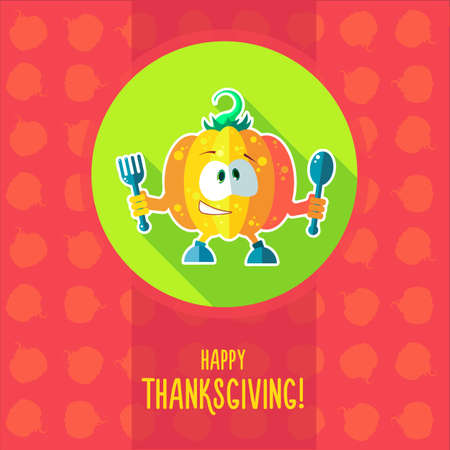 calabaza caricatura: Flat vector card with chef cartoon pumpkin and kitchenware for menu in a restaurant or an invitation to Thanksgiving Day