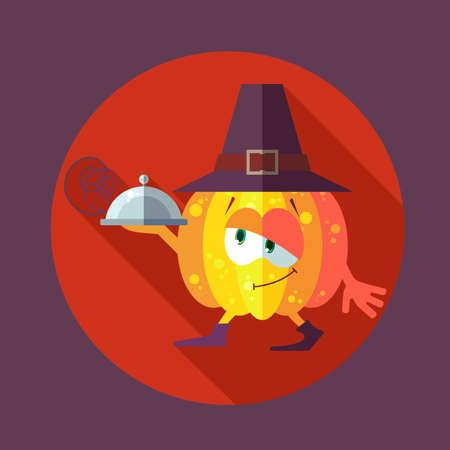 calabaza caricatura: Tarjeta plana del vector con calabaza caricatura de cocina y utensilios de cocina para el men� en un restaurante o una invitaci�n para el d�a de Thanksgiving